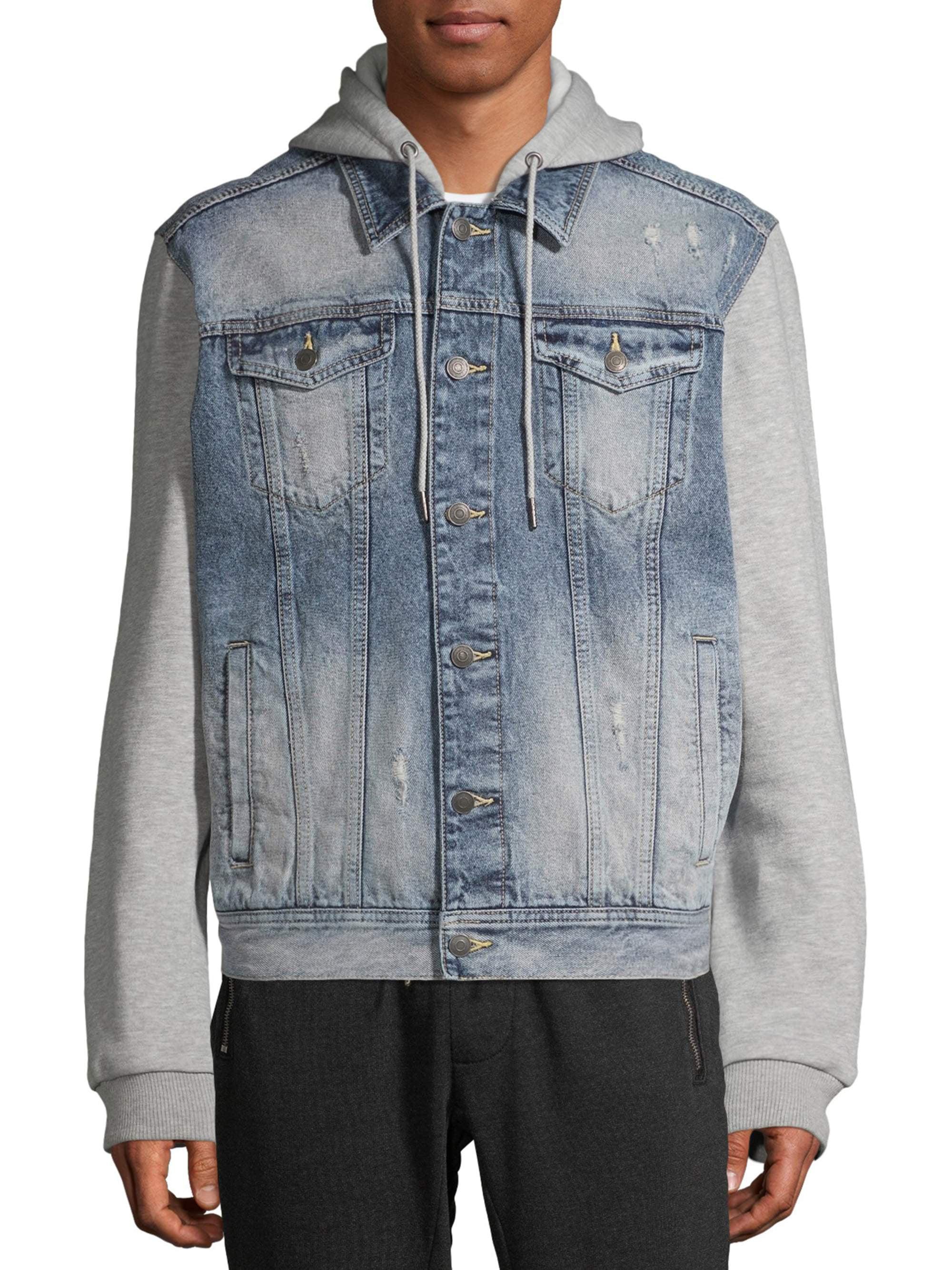 Hooded Patched Oversized Combo Denim Jacket