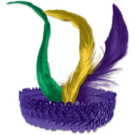 Mardi Gras Sequined Flapper Headband](Mardi Gras Headband)