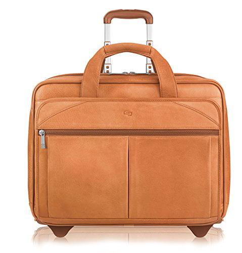 Solo Premium Leather 15.6 Laptop Rolling Case, Tan, D529 by Solo