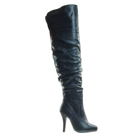 c15c2c4b415 Focus33 by Forever Link, High heel Stretch Wrinkled Slouchy Dress Boots.  Over-The-Knee Thigh High