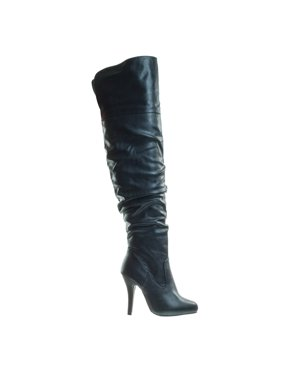 70e1a96fce1eb Product Image Focus33 by Forever Link, High heel Stretch Wrinkled Slouchy Dress  Boots. Over-The