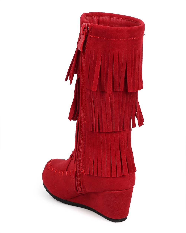 f772995f68da Link - New Girl Link Peggy-92K Layered Fringe Suede Moc Toe Moccasin Wedge  Boot Size - Walmart.com