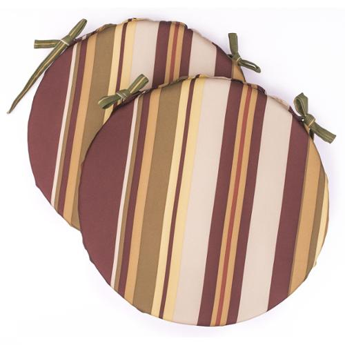 Jeffco Fibres Dunes Club Burgundy Multi Stripe Bistro Cushions (Set of 2)