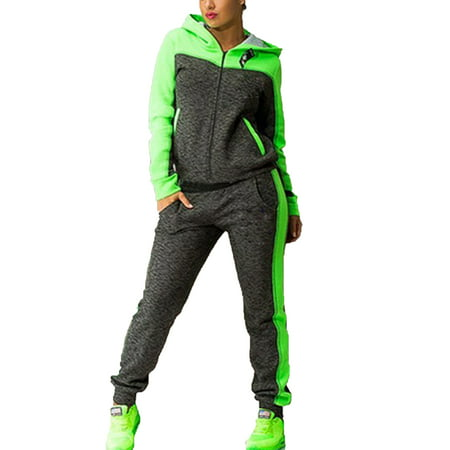 Womens Tracksuit Sets 2Pcs Hooded Hoodie Zipper Sweatshirt Pants Gym Hoody (Trim Pant Suit)