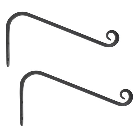 60 Degree Hook - Wrought Iron Wall Hook, 45 Degree Slant Style, 12 inch, Black, 2-Pack