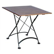 European Cafe Square Folding Table w African Teak Wood Slat Top