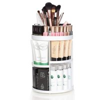 Large 360 Rotatable Makeup Organizer- Detachable Cosmetic Storage Box, Makeup Brushes, Lipsticks - White