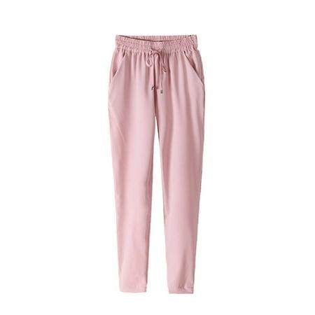 Elastic Waist Solid Color Summer Slim Lady Casual Pants Women Chiffon Pants