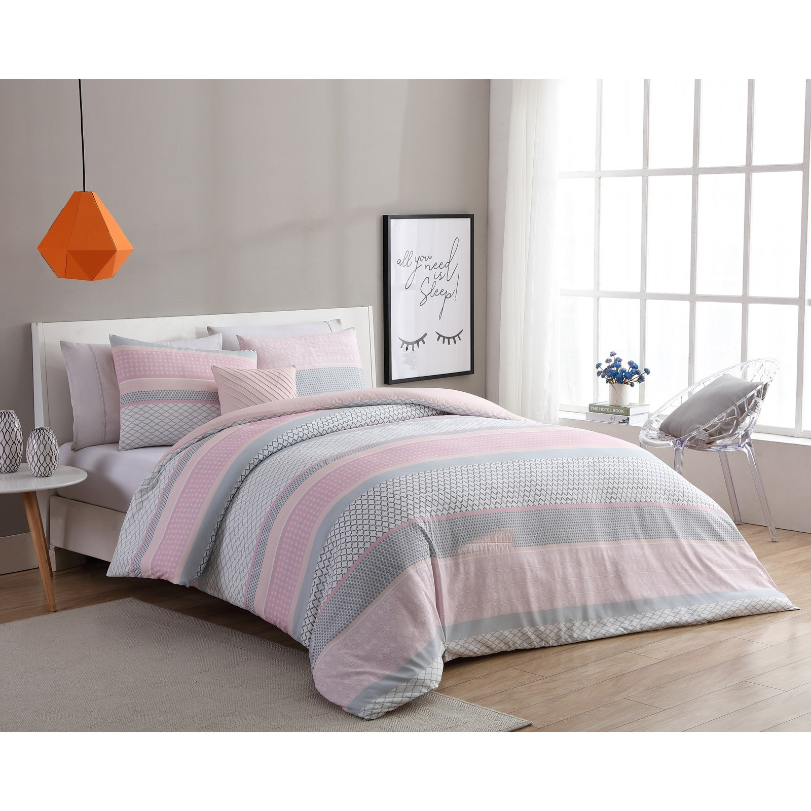 Vcny Home Light Pink Grey Stockholm 3 4 Piece Comforter Bedding Set Shams And Decorative Pillow Included Walmart Com Walmart Com