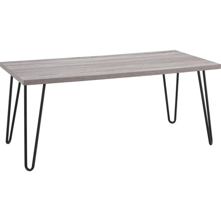 Ameriwood Home Owen Retro Coffee Table Distressed Gray Oak Gunmetal