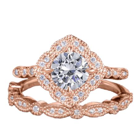 Vintage 1.5 Carat Round Cut Moissanite Wedding Bridal Ring Set in 18k Rose Gold Over Silver for Women