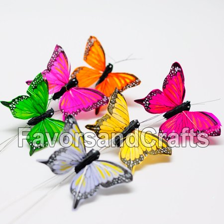 Wholesale Craft Suppliers ((12 Pack) Realistic Feather Butterflies Crafts Wedding Monarch Decoration Wholesale)