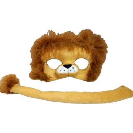 Child Lion Costume Plush Mask and Tail Set