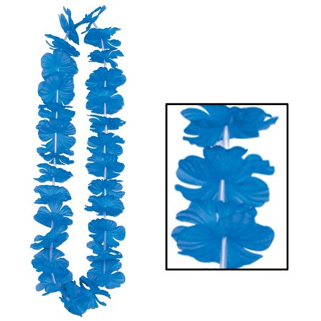 Pack of 12 Bright Blue Hawaiian Luau Tropical Beach Party Floral Lei Necklaces - Floral Leis