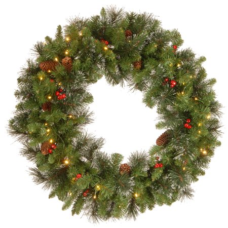 Pre-lit Silver Bristle, Pine Cones and Red Berries Artificial Christmas Wreath - 30-Inch, LED Lights Battery Operated Cones Artificial Christmas Wreath