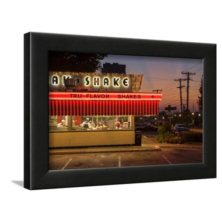 Usa, Midwest, Missouri, Route 66, Springfield, Steak 'N Shake Restaurant Framed Print Wall Art By Christian (Steak And Shake Chili 3 Way Recipe)