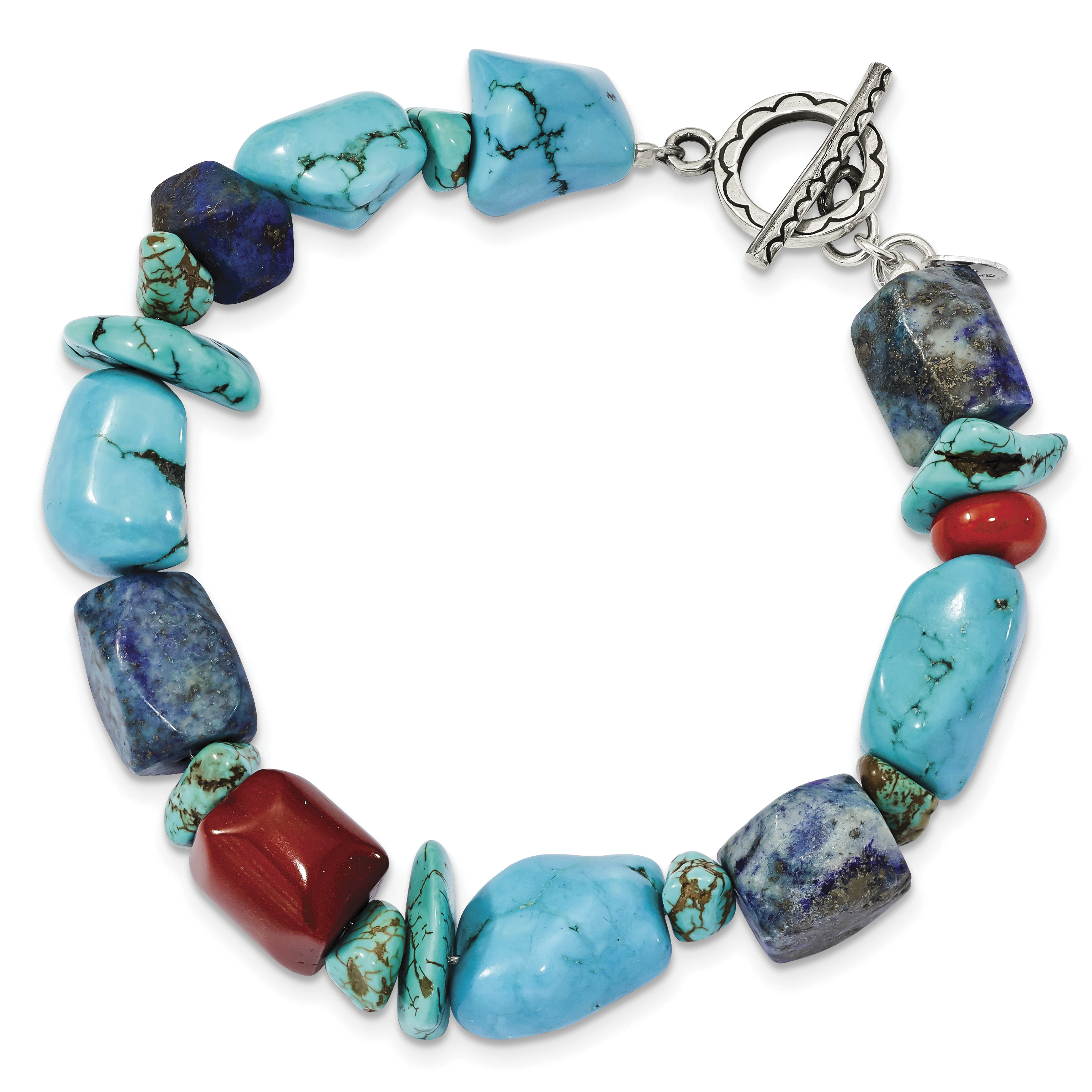 925 Sterling Silver Red Coral Howlite Lapis & Turquoise Bracelet by
