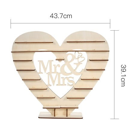 Wood Mr & Mrs Heart Tree Wedding Chocolate Display Stand Centrepiece - image 7 de 7