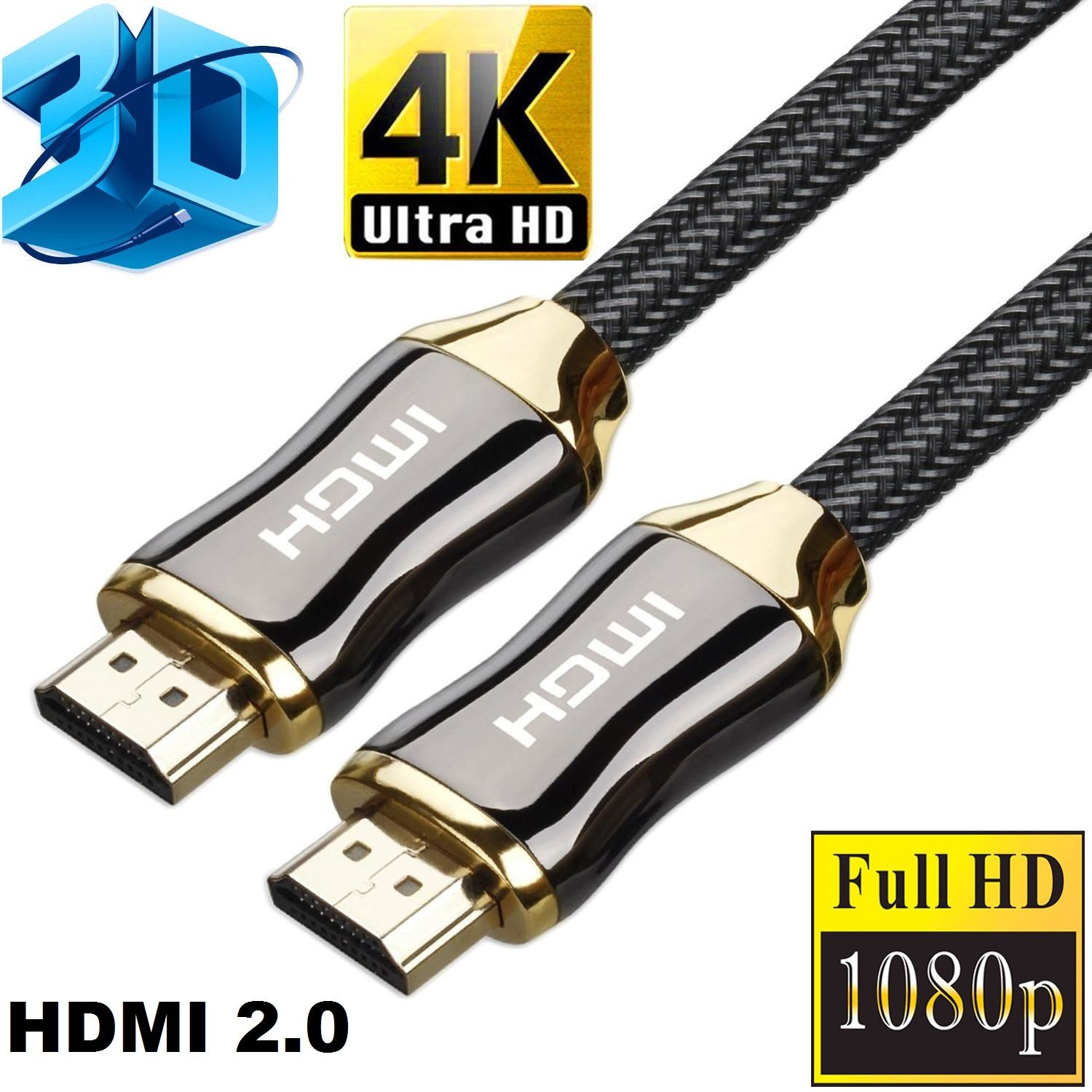 2.0 HDMI Cable ready for For PS3 PS4 PC TV Xbox ,28AWG Goldplate Braided Cord , HDMI Cable 4K 6ft