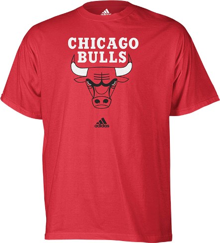 Chicago Bulls Adidas Red Full Primary Logo T-Shirt