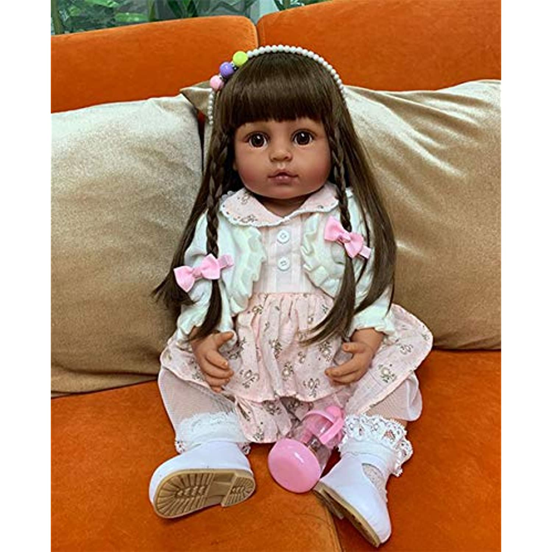 Dark Skin Reborn Baby Dolls Tan Skin Toddler Girl Soft Vinyl Realistic Bebe Doll