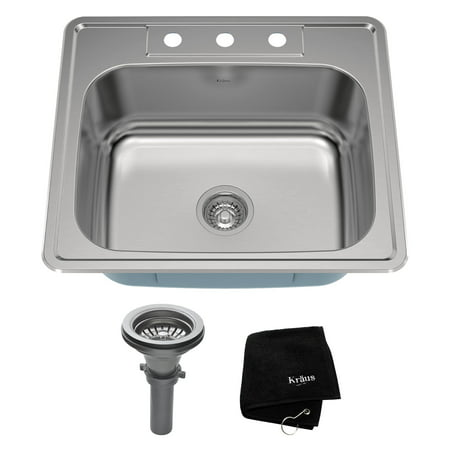 25' Kitchen Countertop - KRAUS 25 Inch Topmount Single Bowl 18 Gauge Stainless Steel Kitchen Sink with NoiseDefend™ Soundproofing