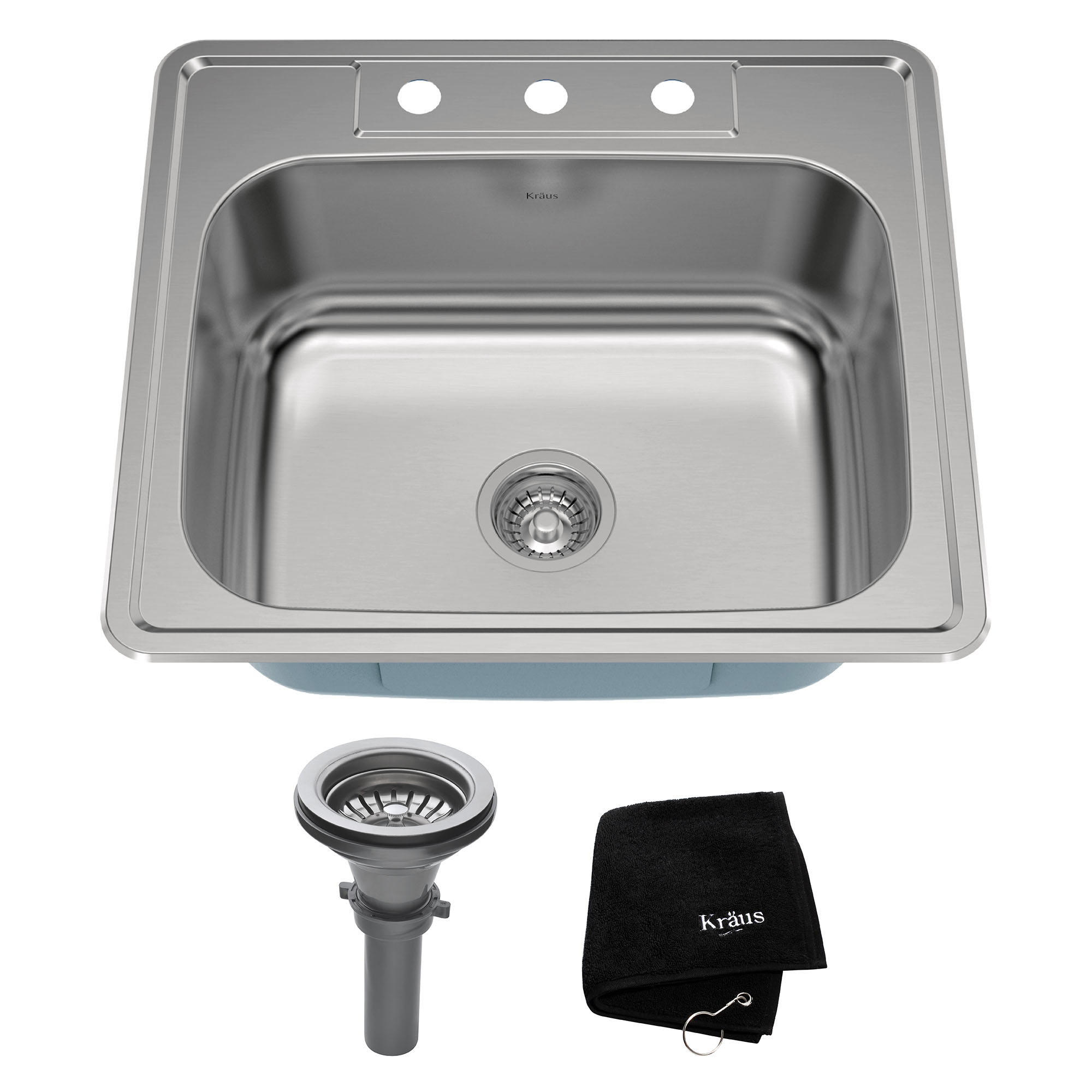 KRAUS 25 Inch Topmount Single Bowl 18 Gauge Stainless Steel Kitchen Sink  With NoiseDefend™ Soundproofing
