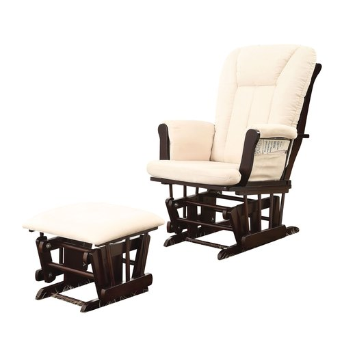 ACME Paola 2-Piece Pack Glider Chair & Ottoman, Beige Microfiber & Espresso by Overstock