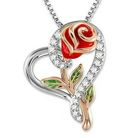 Rose Flower Heart Pendant Necklace Gift for Mom Wife Daughter Jewellery, Necklace, Birthday, Valentines Day Gift for her, Anniversary