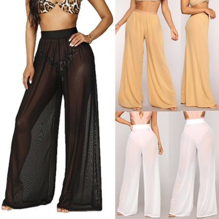 Womens Beach Mesh Sheer Cover Up High Waisted Trousers Loose Casual Beach Long Pants ()