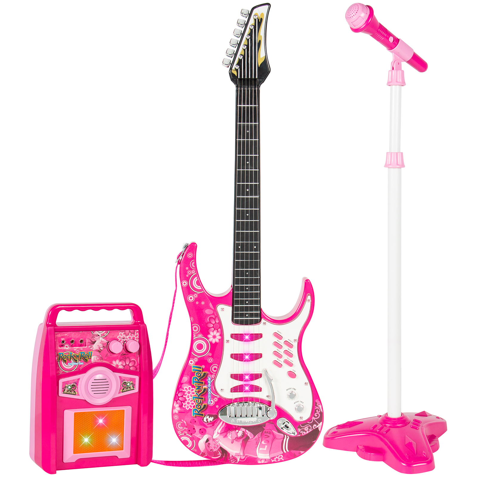 Best Choice Products Kids Electric Musical Guitar Play Set w/ Microphone, Aux Cord, Amp - Pink