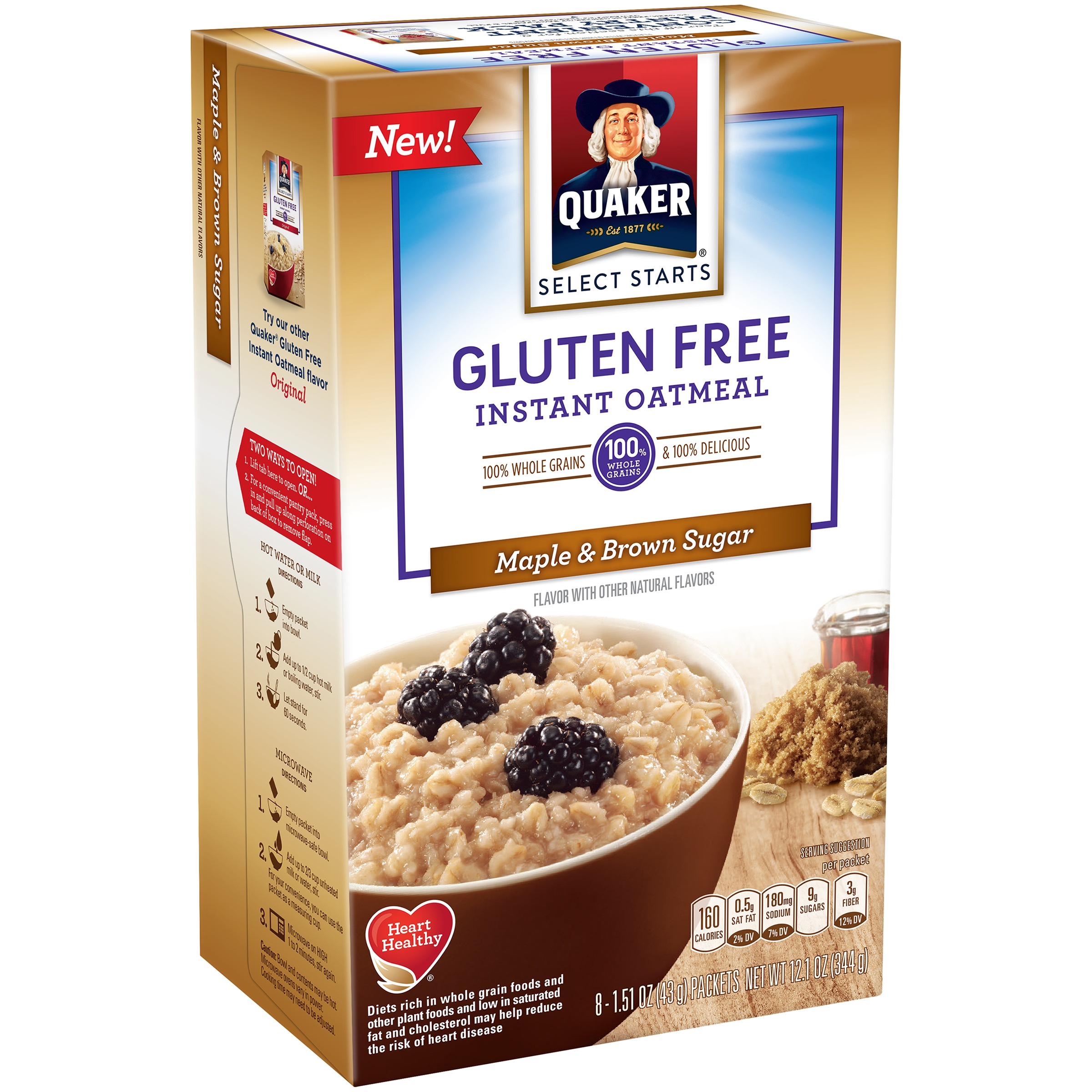Quaker Instant Oatmeal, Gluten Free, Maple Brown Sugar, 8 Packets