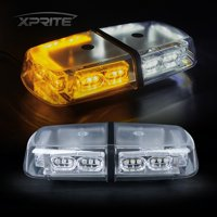 Xprite White Amber 36 LED 18W Rooftop Strobe Light with Magnetic Base