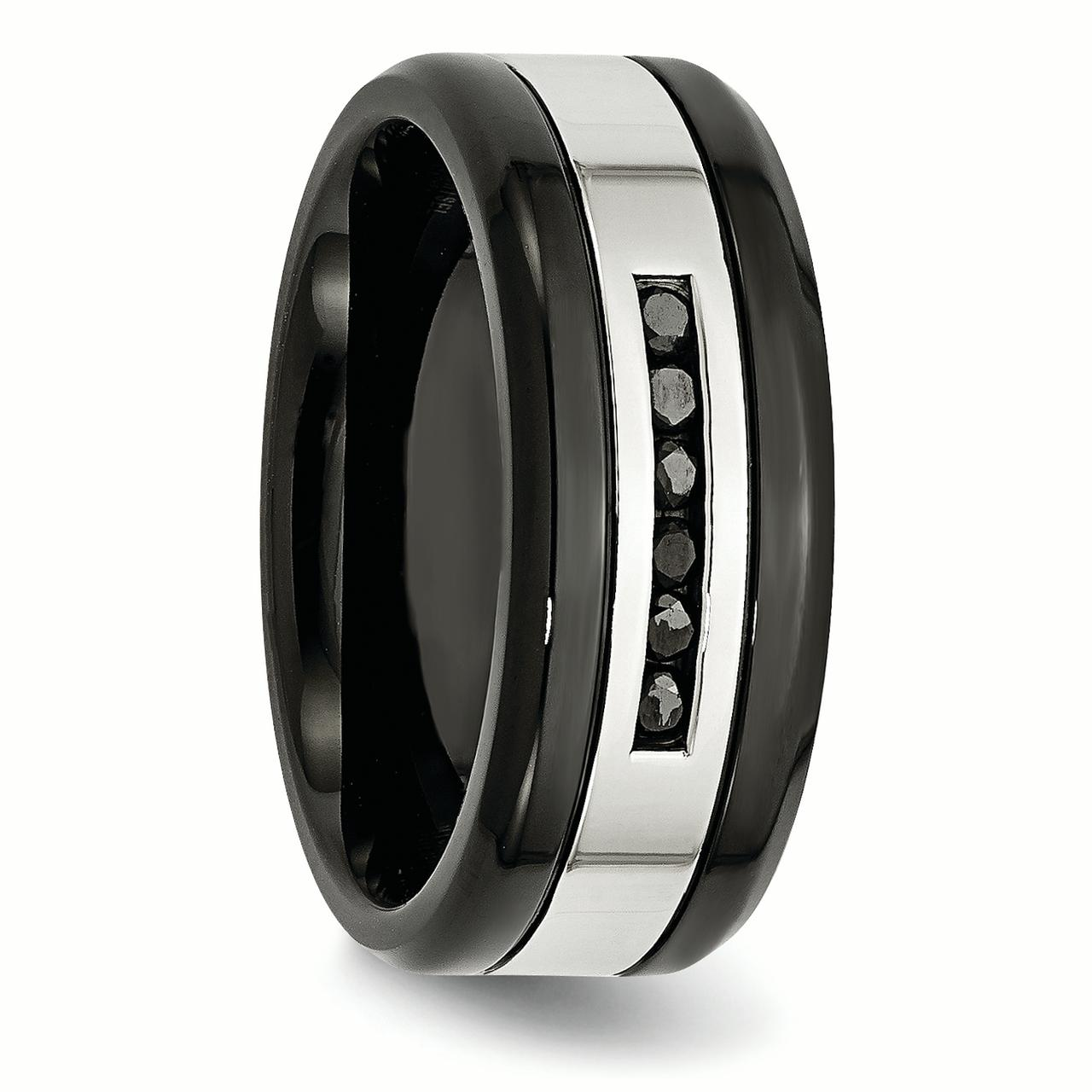 Stainless Steel Black Plated/ Diamonds 9mm Wedding Ring Band Size 12.00 Man Fancy Fashion Jewelry Gift For Dad Mens For Him - image 3 de 7