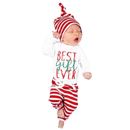 d0180d25ef5 Mosunx Newborn Infant Baby Boy Girl Romper Tops+Striped Pants+Hat Christmas  Outfits Set - Walmart.com