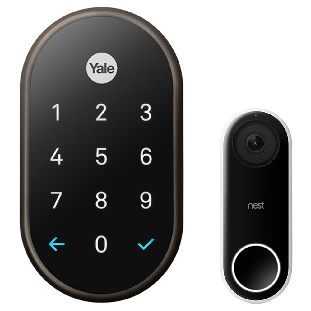 Nest (RB-YRD540-WV-0BP) x Yale Lock with Nest Connect, Oil Rubbed Bronze + Nest Hello Smart Wi-Fi Video Doorbell