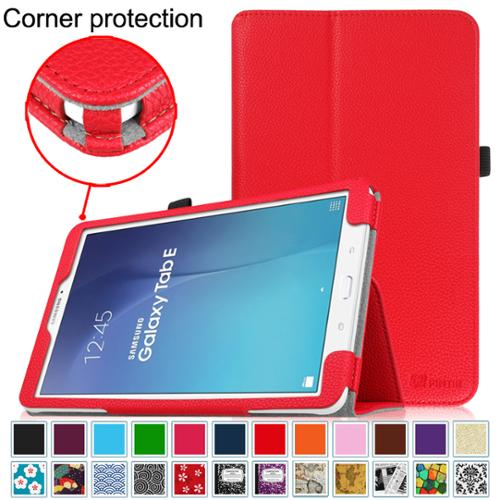 Samsung Galaxy Tab E 9.6 / Tab E Nook 9.6 Inch Tablet Folio Case - Fintie Slim Fit PU Leather Stand Cover, Red