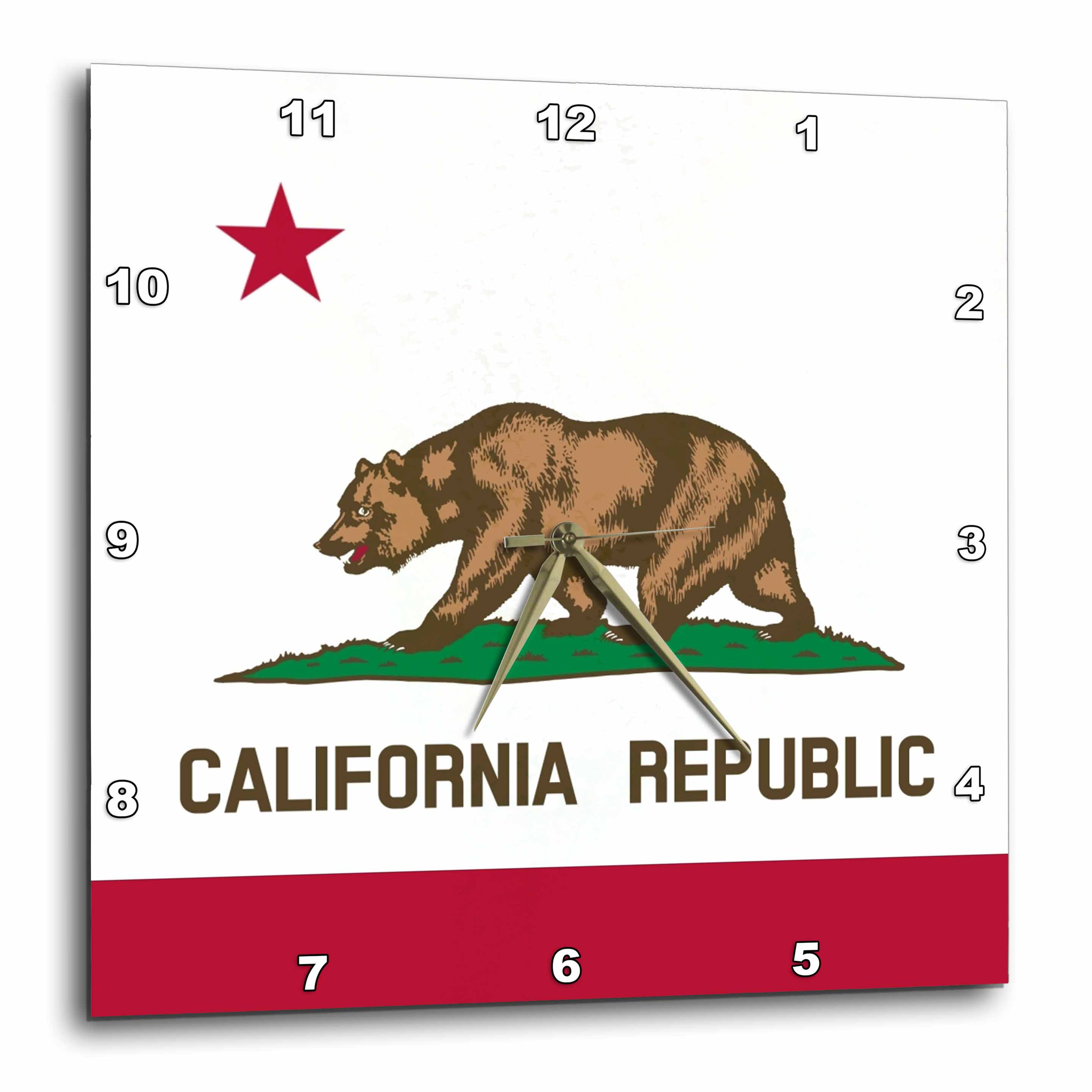 3dRose Flag of California Republic - US American state - United States of America - The Bear Flag white red, Wall Clock, 10 by 10-inch
