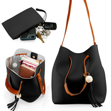 Fashion Tassel buckets Tote Handbag Women Messenger Hobos Shoulder Bags Crossbody Satchel Bag - Black