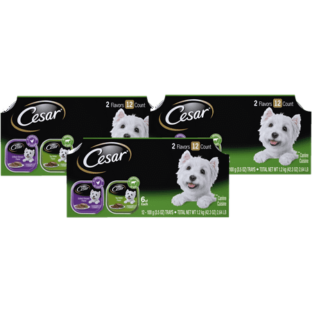 (3 Pack) CESAR CANINE CUISINE Wet Dog Food Top Sirloin & Grilled Chicken Flavors Variety Pack, (12) 3.5 oz. (Top Best Dog Foods)