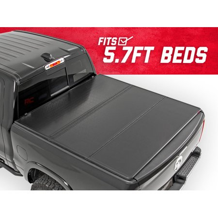 Hard Truck Bed Tonneau Covers - Rough Country Hard Tri-Fold (fits) 2009-2018 RAM Truck 5.7 FT Bed Truck Tonneau Cover 45309550 Hard Folding