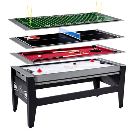 Lancaster 4 in 1 Air Hockey Pool Ping Pong Football Sports Swivel Game Table