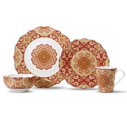 222 Fifth Lyria Saffron 16-piece Dinnerware Set, Service for 4