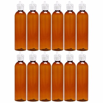 MoYo Natural Labs Turret Spout 8 oz Empty Liquid Bottle with Adjustable Dispenser (Pack of 3, Amber)