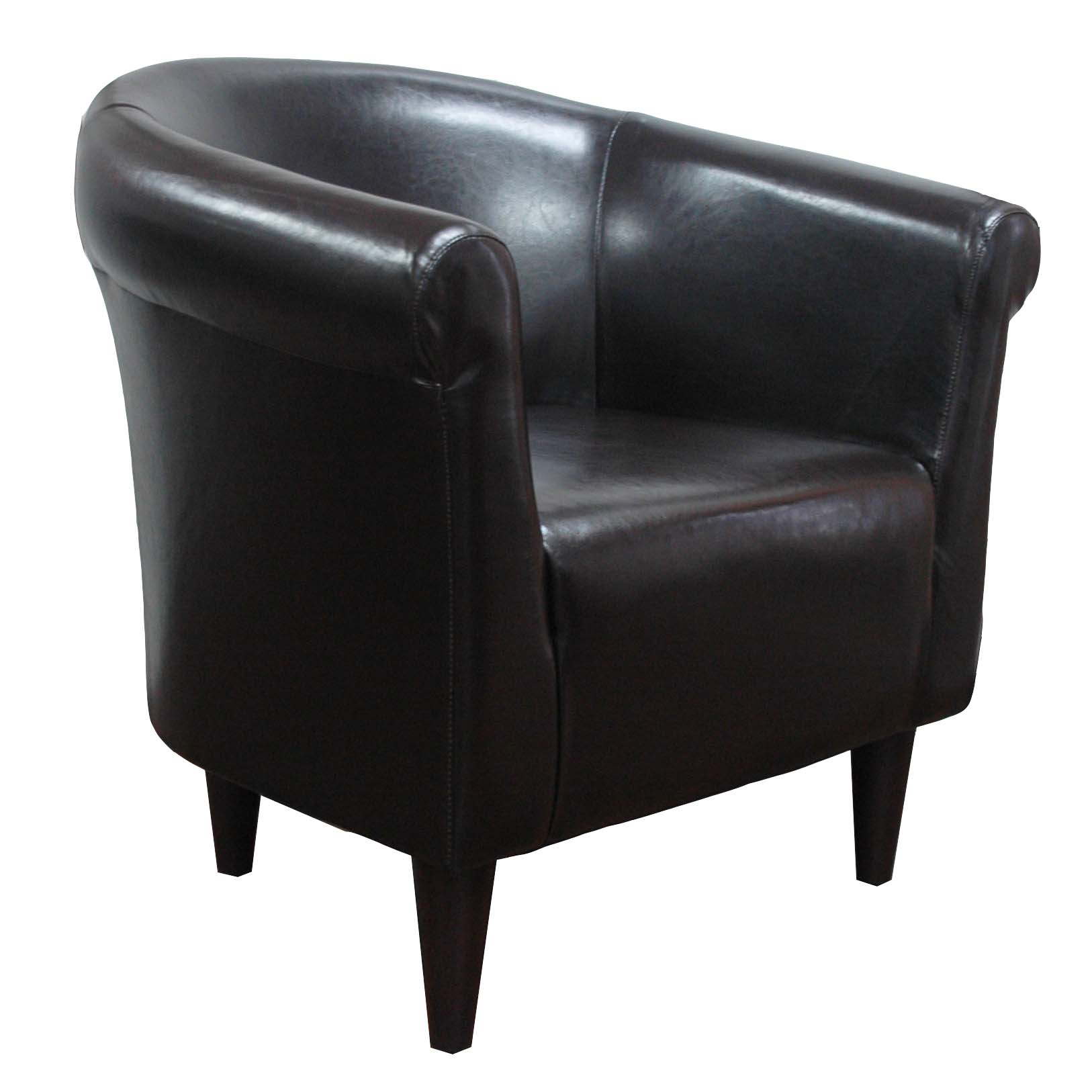 Newport Club Chair - Leatherette Walnut