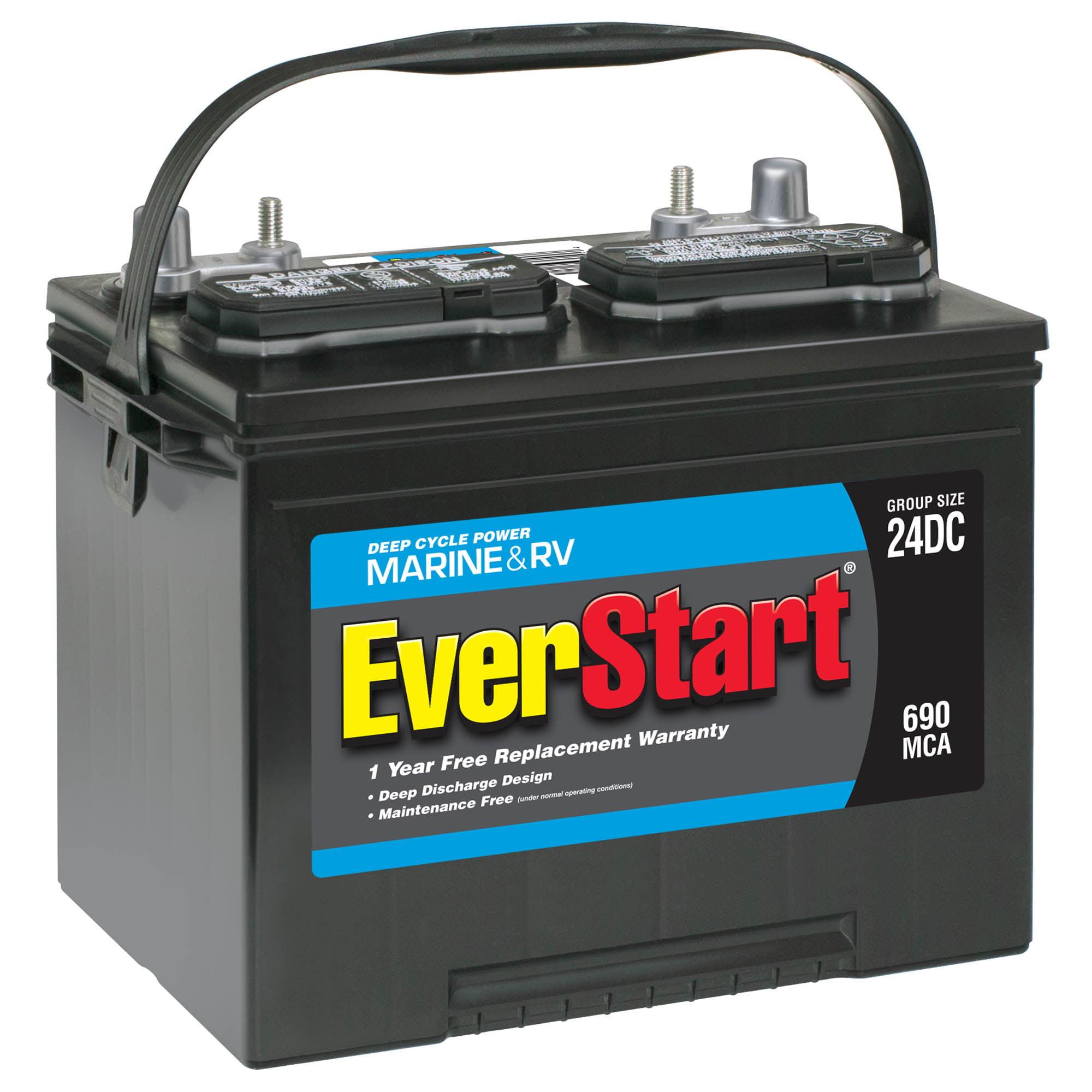 Everstart Lead Acid Marine Rv Deep Cycle Battery Group Size 24dc 12 Volt 690 Mca Walmart Com Walmart Com