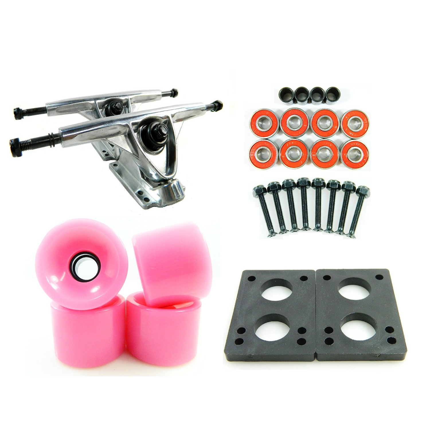 LONGBOARD PARTS PACKAGE 180mm Raw Trucks 70mm Solid Pink Wheels/Bearings/HW