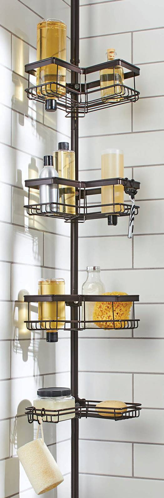 Click here to buy Better Homes & Gardens Contoured Tension Pole Shower Caddy, Oil-Rubbed Bronze by Supplier Generic.