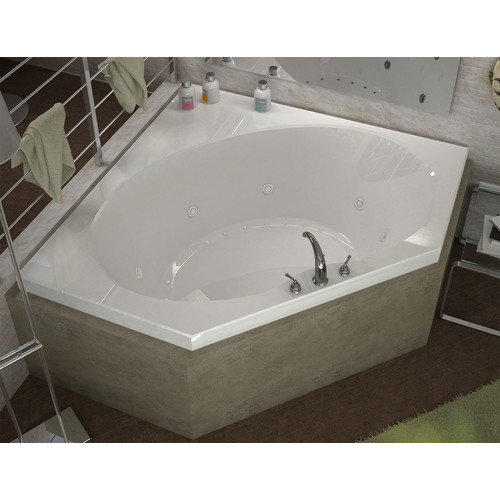 Spa Escapes St. Barts 60'' x 60'' Corner Air & Whirlpool Jetted Bathtub with Center Drain