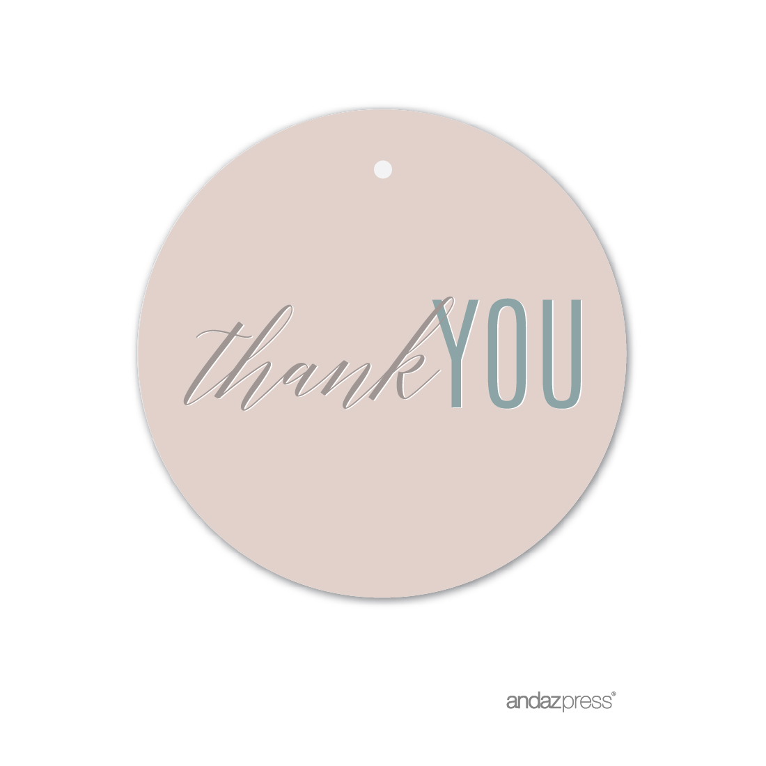 Signature Rustic Pastels Party, Round Circle Gift Tags, Thank You!, 24-Pack